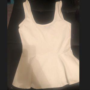 Bebe peplum white shirt small